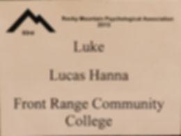 Luke Hanna psychology presentation at rocky mountain psychological association