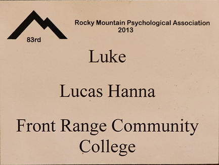 Luke Hanna psychology presentation at rocky mountain psychological association
