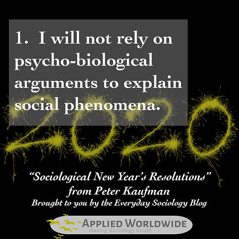 Sociological new year's resolutions, I will not rely on psycho-biological arguments to explain social phenomena. From Peter Kaufman and the Everyday Sociology Blog
