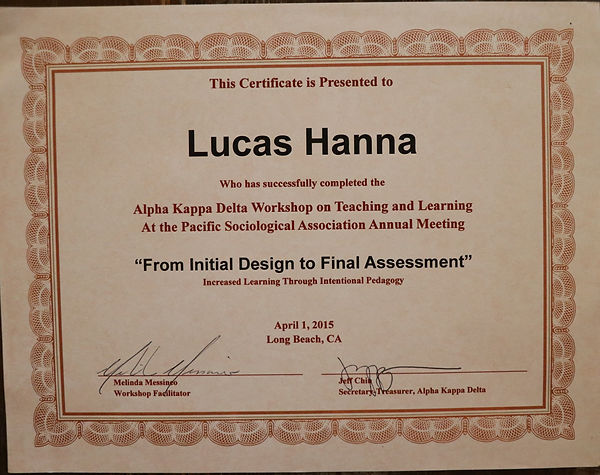 Certificate to Lucas Hanna from AKD Teaching and Learning Workshop