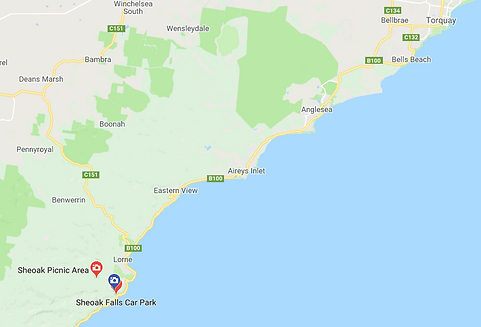 Google Map Data 2019 Sheoak Falls along the Great Ocean Road, Victoria Australia