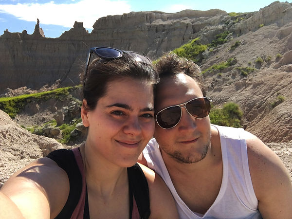 Applied Sociologists Luke Hanna and Stepanie Wilson posing at Badlands National Park