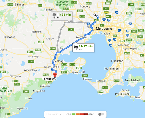 Google Map Data 2019 Torquay, Victoria near Melbourne Australia.