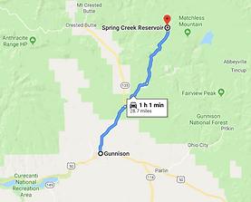 google map data 2019 Gunnison Colorado to Spring Creek Reservoir