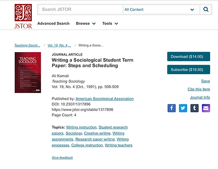 Link to JSTOR search for writing a sociological student term paper: Steps and scheduling