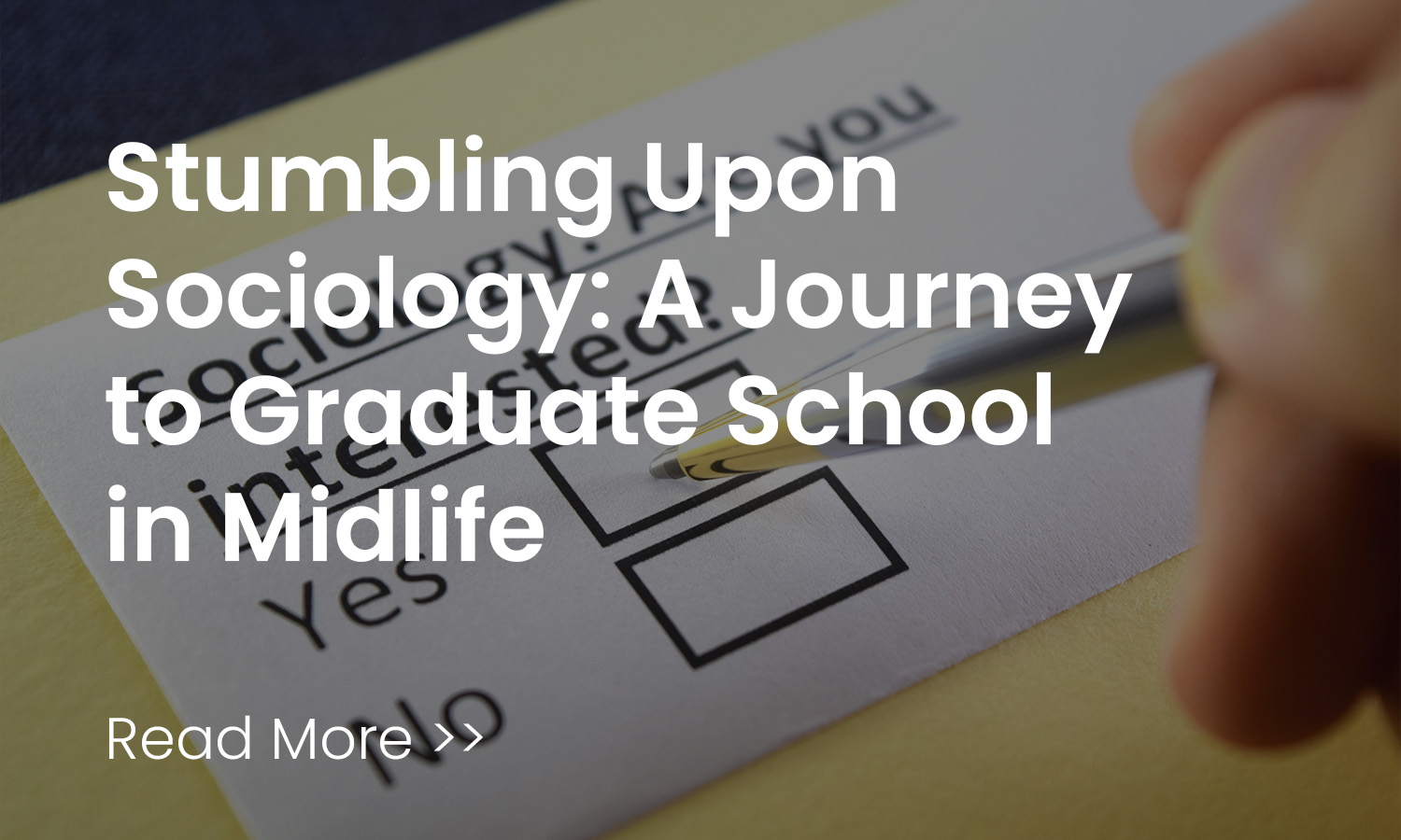 Stumbling Upon Sociology: A Journey to G