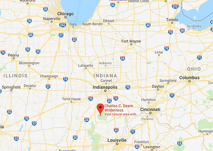 google map data 2019 of Charles C. Deam Wilderness Area in Hoosier National Park near Bloomington Indiana