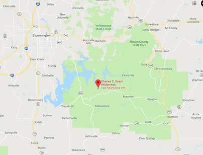 google map data 2019 of charles c deam wilderness area in hoosier national forest near bloomington indiana