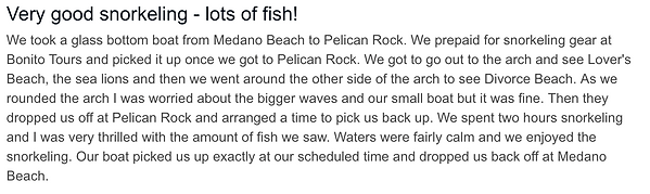 Trip advisor snorkeling at pelican rock