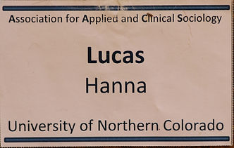 Lucas Hanna's name tag for the association for applied and clinical sociology conference.