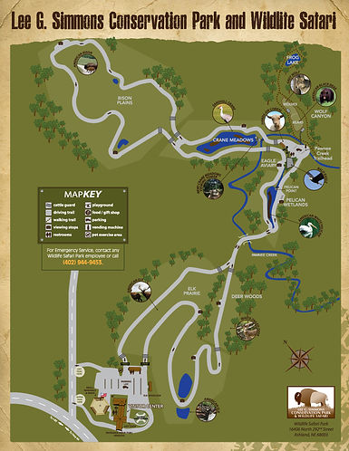 Lee G. Simmon Conservation Park and Wildlife Safari Map