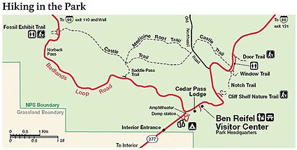 NPS Badlands hiking trails map