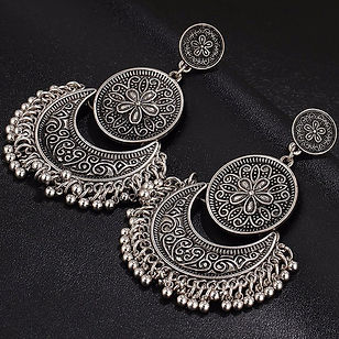 Silver Gold Tribal Earrings