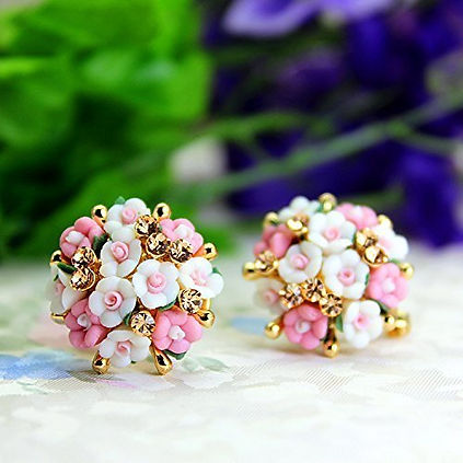 Floral Gold Plated Stud Earrings