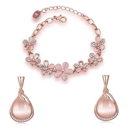 Rose Gold Bracelet Earrings Combo