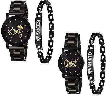 King Queen Watch & Bracelet Combo