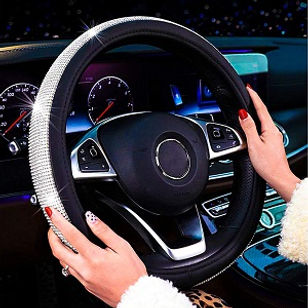 Diamond Leather Steering Wheel Cover