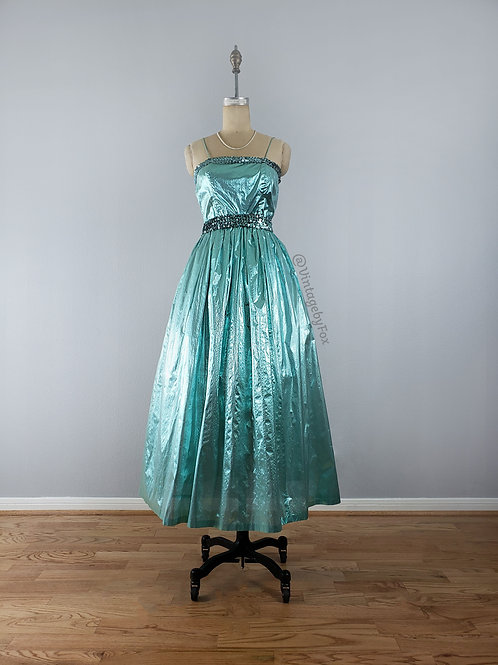 1970's 50's Inspired Sequined Metallic Puff Party Dress
