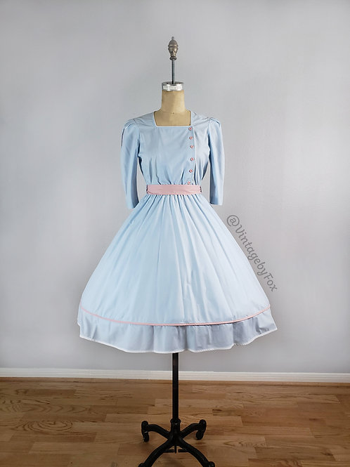 1970's Sweet Sailor Blue and Pink Summer Tie Waist Dress
