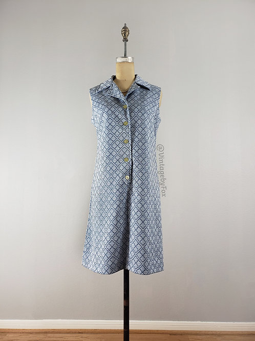 1960's Diamond Pattern Blue Shift Day Dress