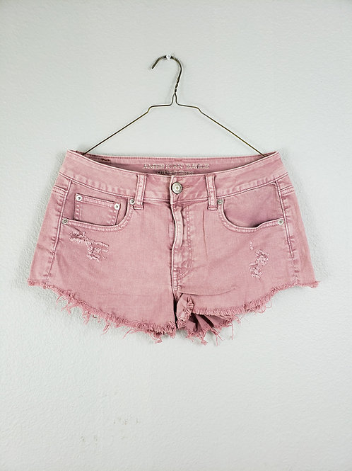 American Eagle Pink Low Rise Stretch Denim Booty Shorts