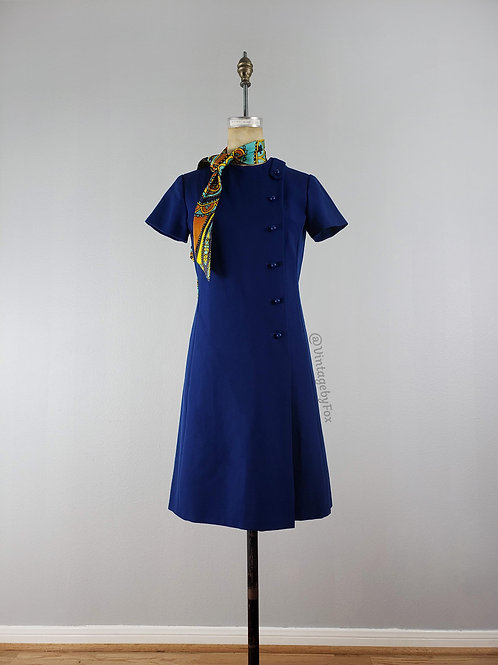 1950's Power Blue Paisley Scarf Necktie Shift Dress