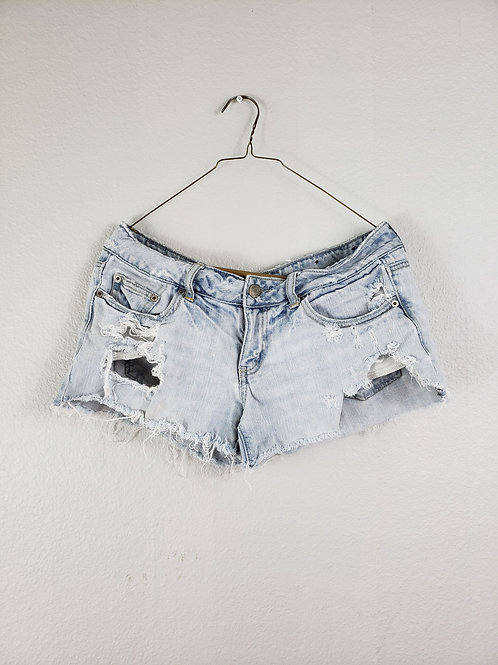 American Eagle Light Wash Blue Low Rise Distressed Denim Booty Shorts