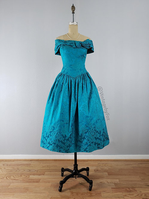 1980's throw back to the 50's Blue Off the Shoulder Classy Lady Dress