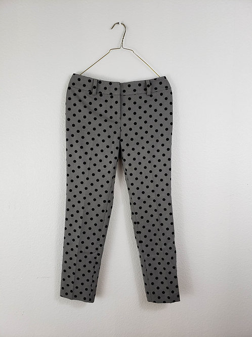LOFT Grey High Rise with Black Velvet Polka Dot Trousers