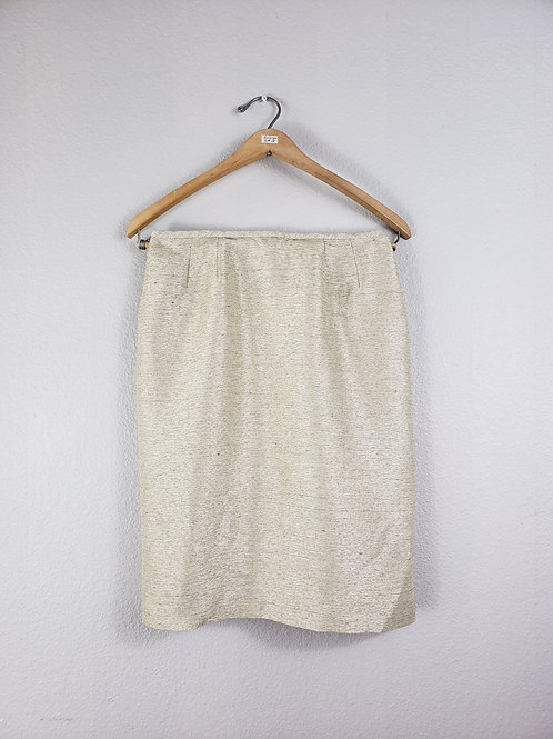 Le Suit Petite Ivory Shine Shift Skirt