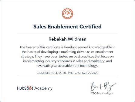HubSpot Sales Enablement Certificate 113