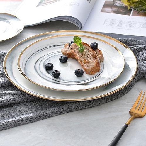 Kitchen LoveWare Ceramic Marble Surface Dinner Plates