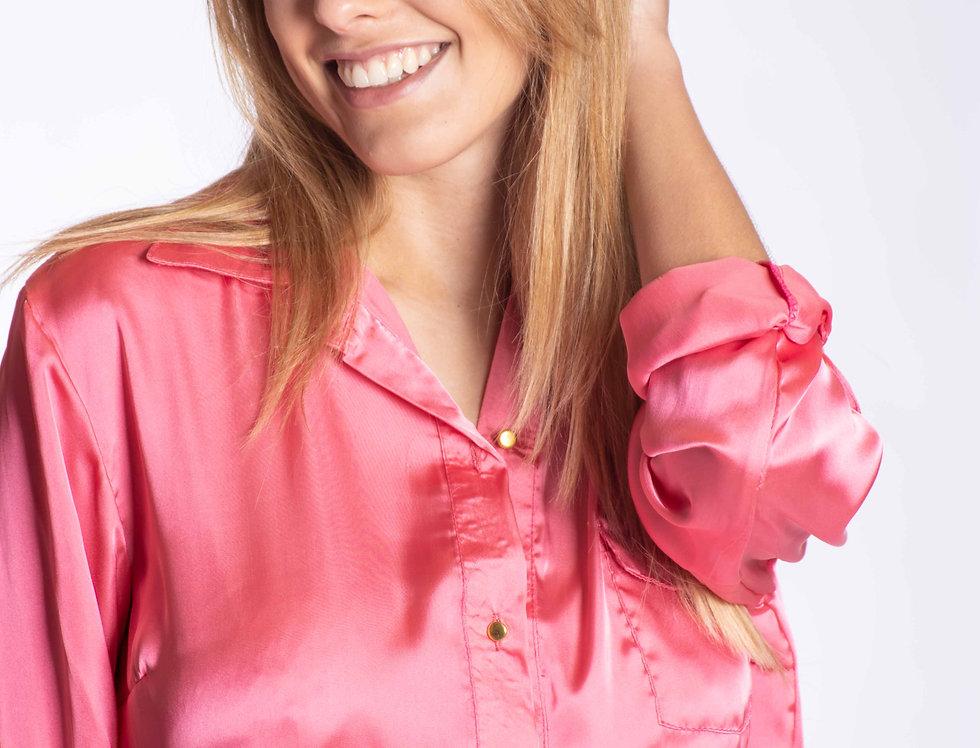 camisa seda lisa