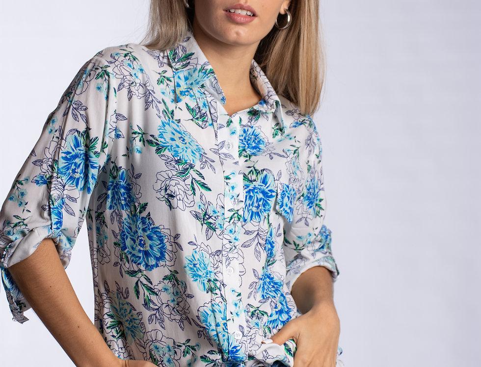 Camisa Sky Blue Flwr