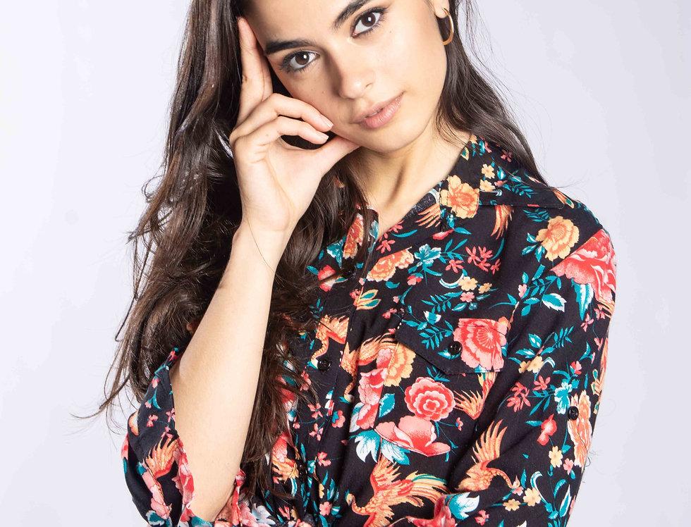 Camisa Asia flower 3/4