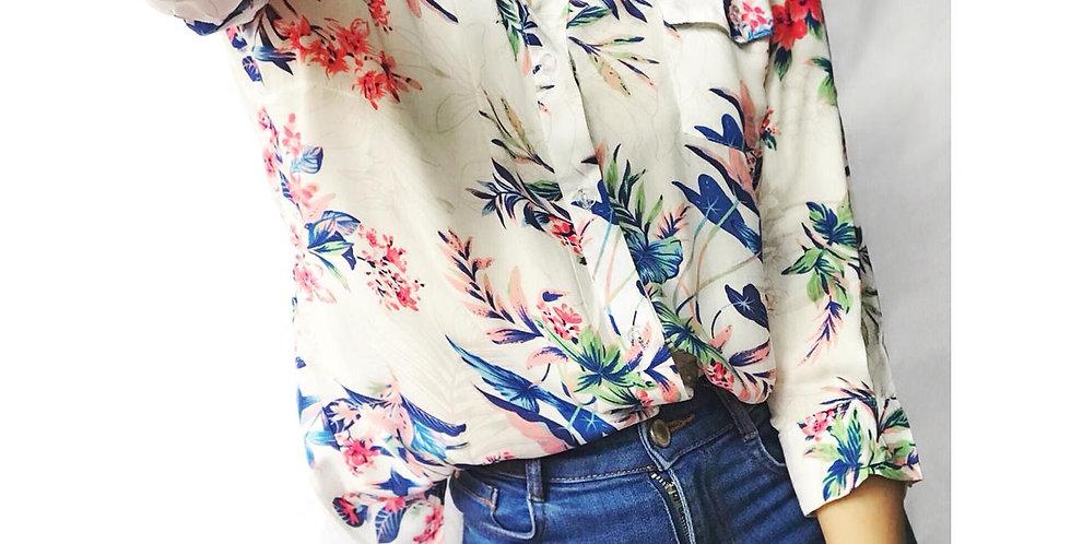 Camisas flowers 3/4