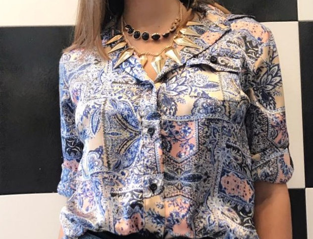 Camisa raso bulgaro azul