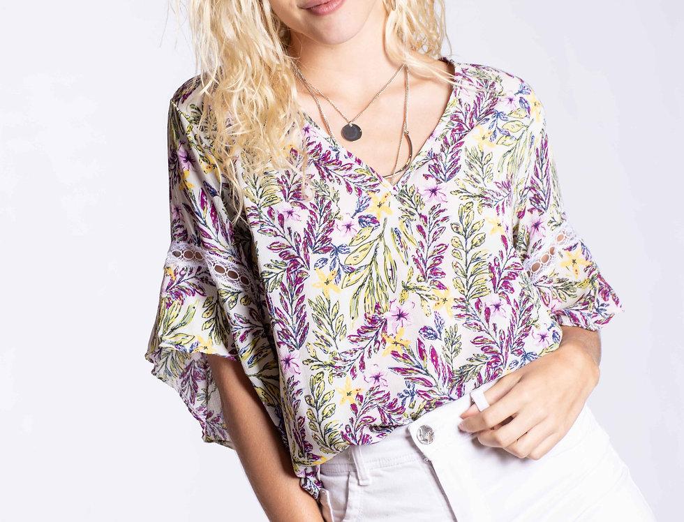 Blusa crep con puntilla Violet