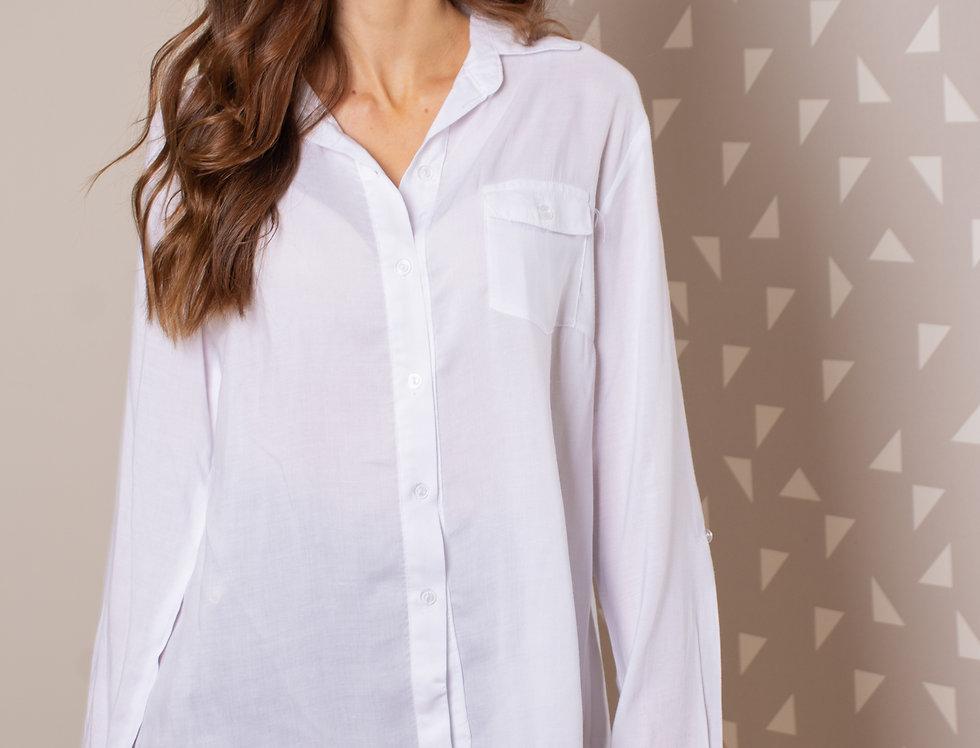 Camisa fibrana lisa M/L