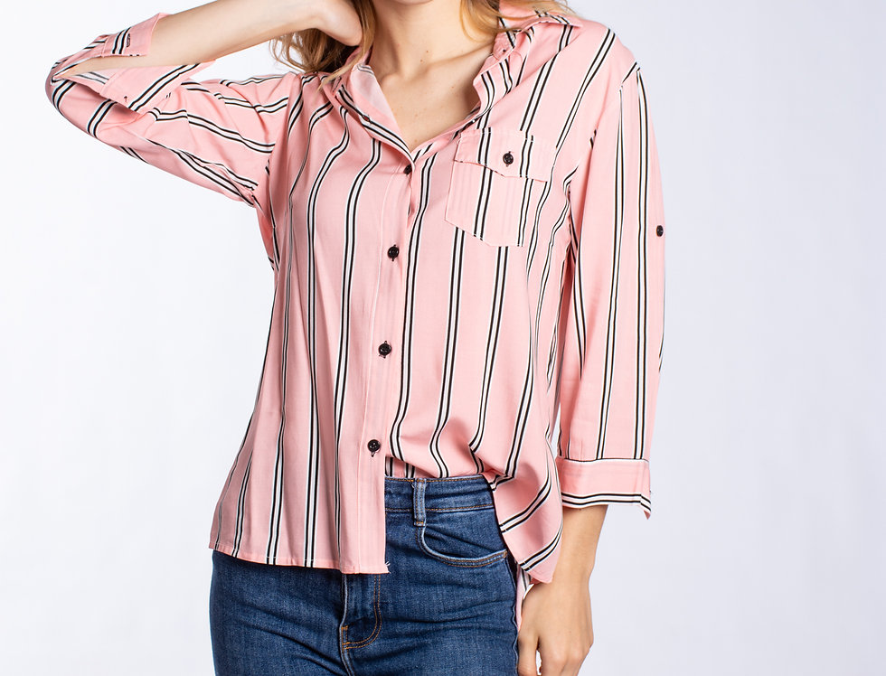 Camisa 3/4 Raya combi Rosa