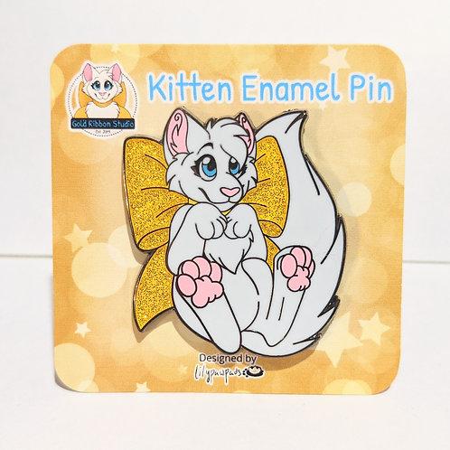 NEW Gold Ribbon Kitten Pin