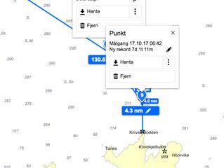 Passerte N/S linjen Knivskjelodden 17.10.17, 06:42. NY REKORD!!