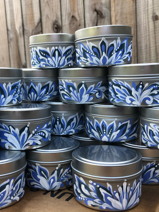 Future Family booth / convention giveaway, handpainted candles