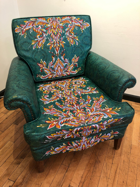 custom painted chair for the Pathways to Housing PA's 2019 Chair Affair
