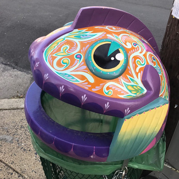 Custom Painted Fishtown Trashcan
