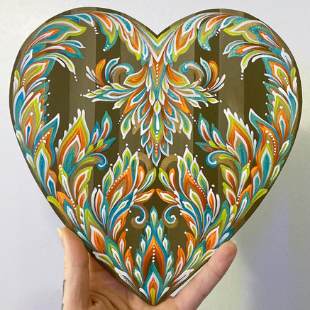 Painted Wooden Heart (sold)