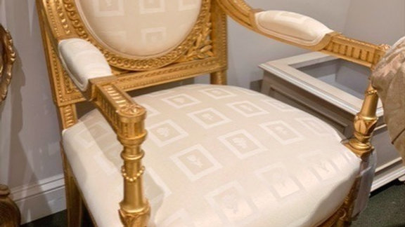 24K Gold Leaf Gilded Arm Chair