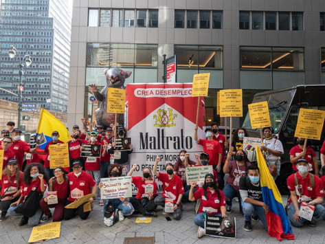 Workers rally against tobacco giant Philip Morris in three countries