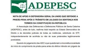 ADEPESC defende prisão-pena após trânsito em julgado