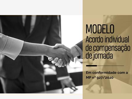 Modelo – Acordo Individual para compensação de jornada – MP nº 927/2020
